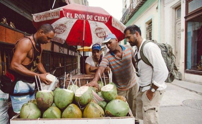 What not to eat in Cuba - Coconut-Water-Street-Vendor-in-Cuba
