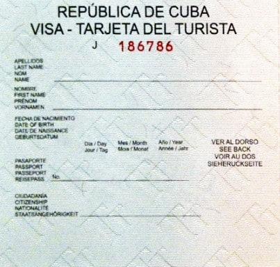 Green Cuban Tourist Card