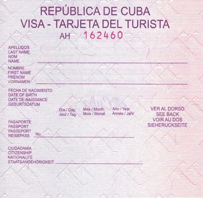 Pink Cuban Tourist Card